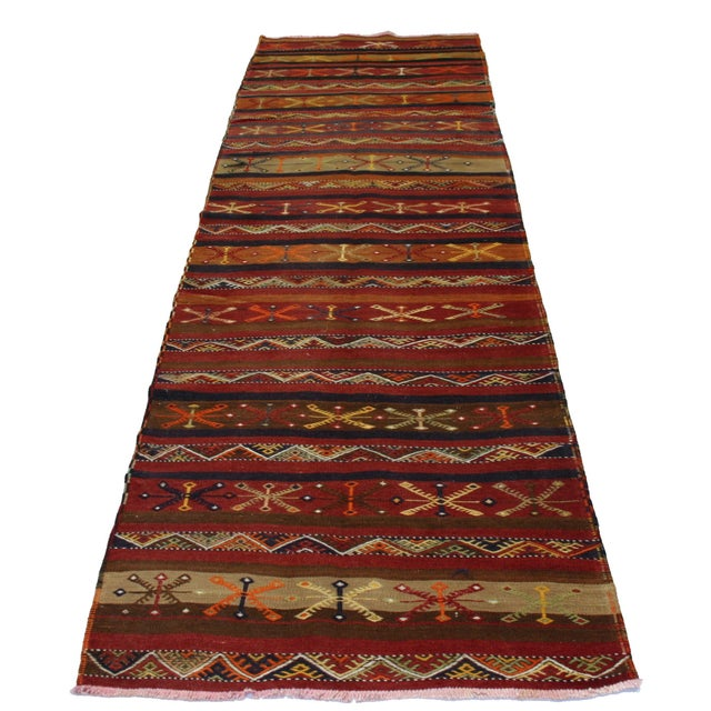 Vintage Turkish Kilim Malatya Runner - 3' X 11'6 - Image 2 of 3