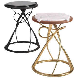 Pair of Brass Side Tables, Hourglass, Misaya For Sale
