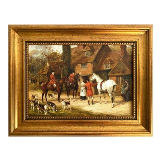 """Framed Fox Hunting Picture - """"The Stirrup Cup"""" For Sale"""