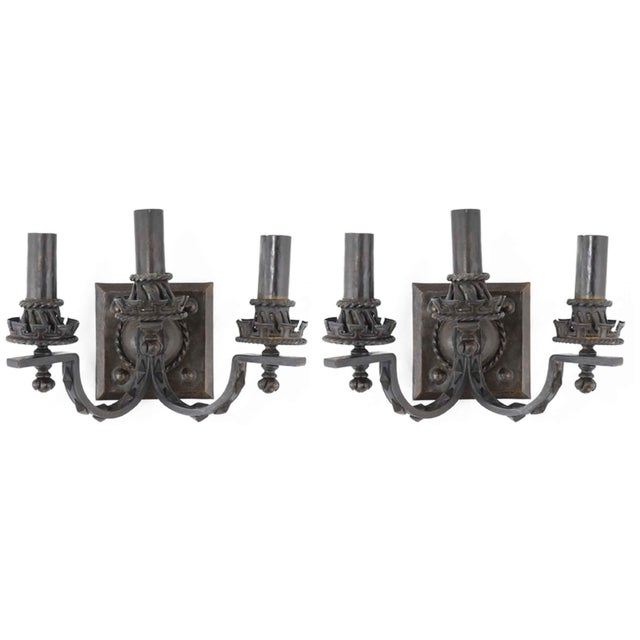 Arts & Crafts Hammered Bronze Sconces - a Pair For Sale - Image 9 of 9