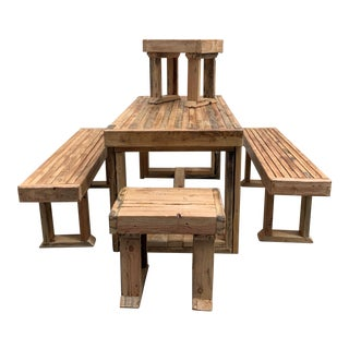 1980s Reclaimed Wood Patio Set-Set of 5 For Sale