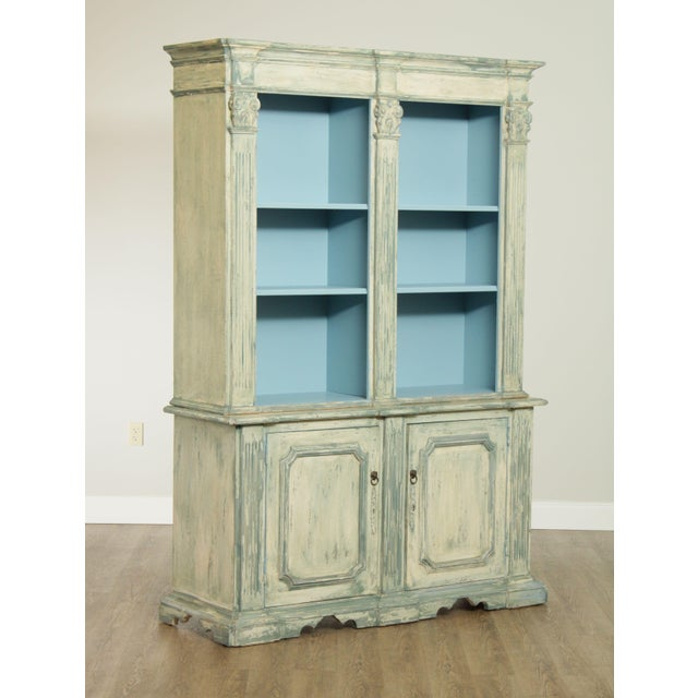 Traditional Italian Custom Faux Blue Painted Architectural Bookcase For Sale - Image 3 of 13