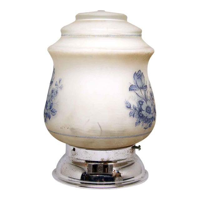 Blue & White Floral Globe Flush Mount Fixture For Sale