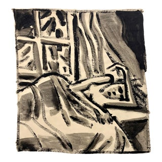 """Donald Stacy """"Laying by Window"""" C.1950s Gouache Nude Mid Century Painting For Sale"""