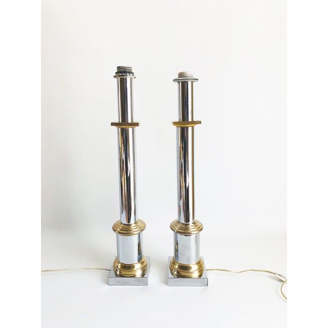 Gabriella Crespi 1970s Modernist Chrome & Brass Table Lamps - a Pair For Sale - Image 4 of 6