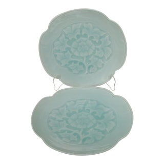 Embossed Porcelain Plates - a Pair