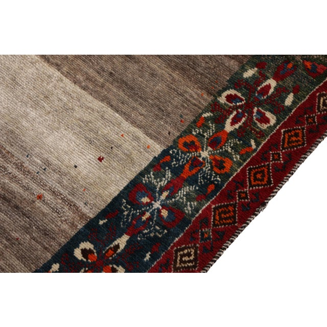Transitional Hand-Knotted Mid-Century Vintage Gabbeh Rug in Gray Red Tribal Geometric Pattern For Sale - Image 3 of 5