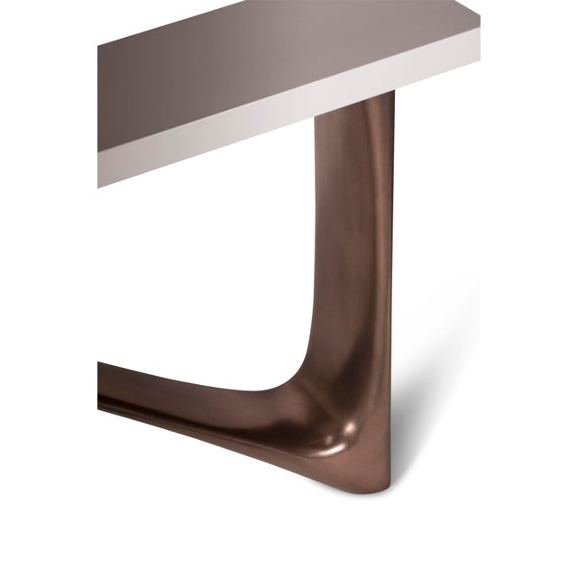 Metal Amorph Aviva White Lacquered Top and Bronze Base Console For Sale - Image 7 of 9