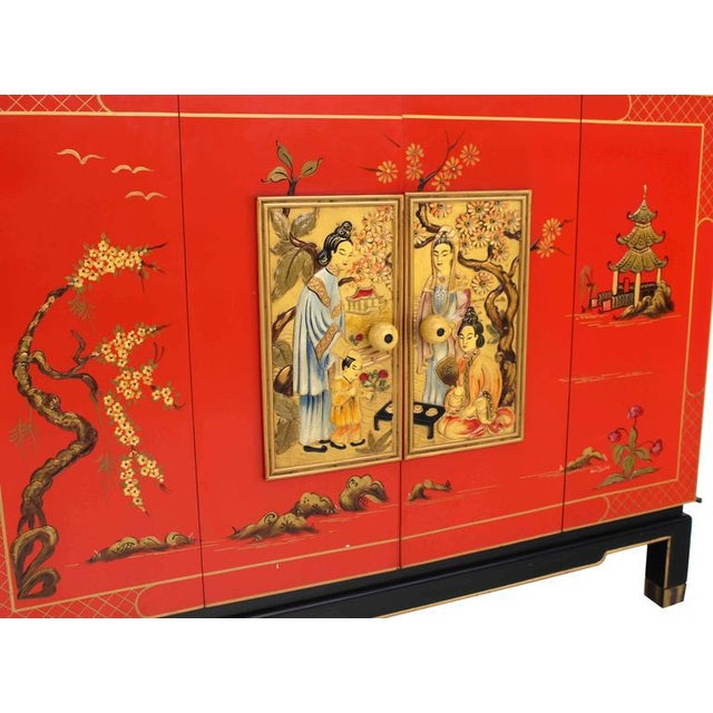 Asian Black and Red Lacquer 2-Tone Cabinet Bachelor Chest For Sale - Image 4 of 11