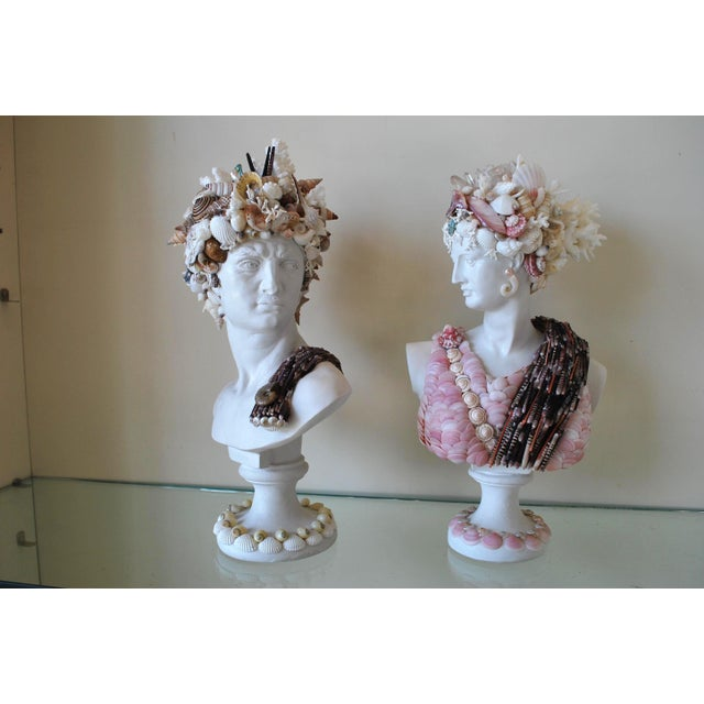 Mini Shell Encrusted Apollo & Diana Busts - a Pair For Sale - Image 4 of 4