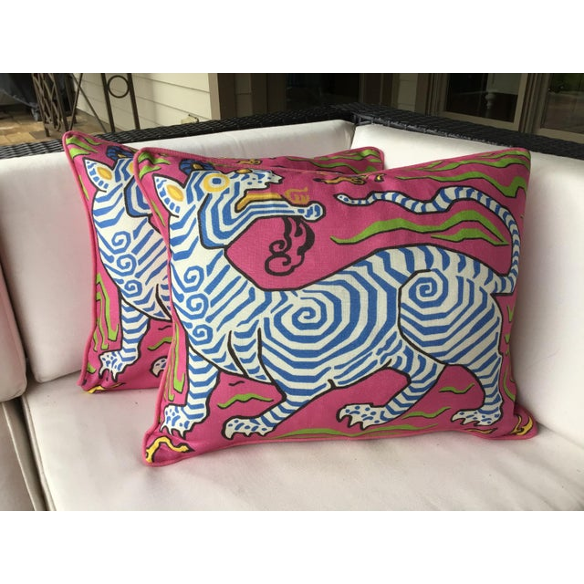 Asian Clarence House Tibet Dragon Hot Pink and Blue Down Filled Pillow - a Pair For Sale - Image 3 of 3