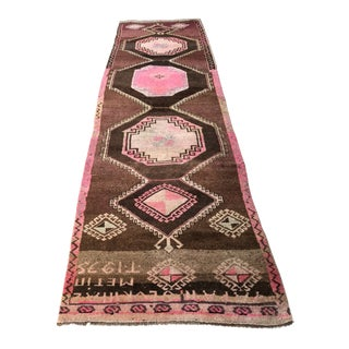 Vintage Turkish Pink Geometric Design Runner Rug - 3′6″ × 11′10″ For Sale