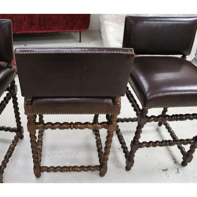 2000 - 2009 Paul Ferrante Spanish Colonial Leather Bar Stools - Set of 4 For Sale - Image 5 of 6