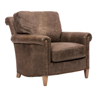 Traditional Charcoal Leather Club Chair For Sale