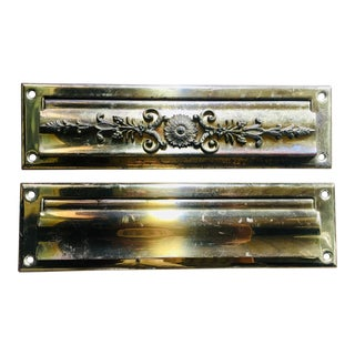 Antique Brass Victorian Style Mail Slot For Sale