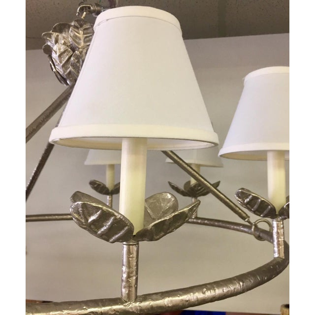 1960s Shabby Chic Vaughn Montferat Hammered Silver Chandelier For Sale In West Palm - Image 6 of 10