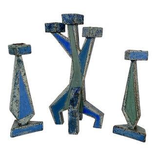 Set of 3 Belgian Ceramic Geometric Sculptural Candlesticks For Sale