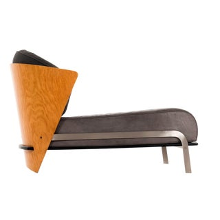 Italian Bent Wood and Leather Chaise by Franco Raggi For Sale