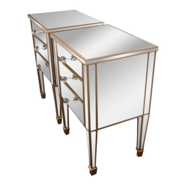 Pair of Custom Gold Trim, Mirrored Commodes For Sale