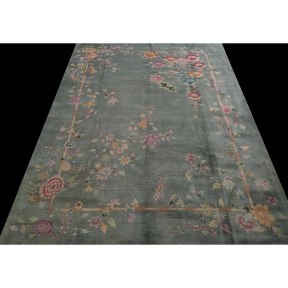 "Antique Chinese Art Deco Rug 8'10"" X 11'8"" For Sale - Image 4 of 12"