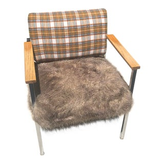 Mid-Century Metal Plaid Chair With Fur Seat For Sale
