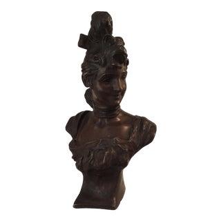 Georges Van Der Straeten Bronze Bust of Woman For Sale