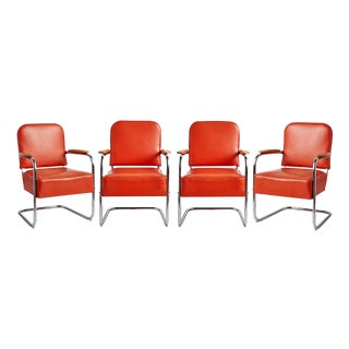 Set of 4 Lloyd Co. Lounge Chairs W/ Maple Armrests Circa 1930