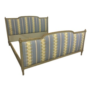 20th Century French Style Upholstered King Bedframe For Sale