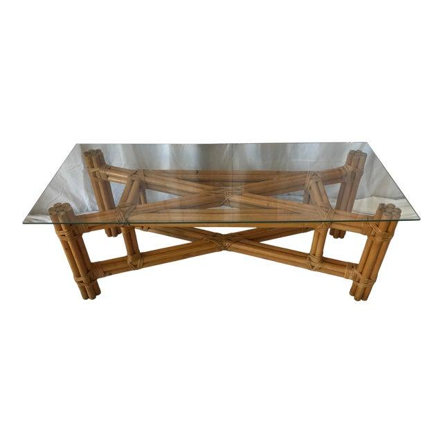 Boho Chic X Design Rattan Coffee Table For Sale