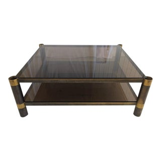 Karl Springer Two-Tiered Smoked Glass Coffee Table