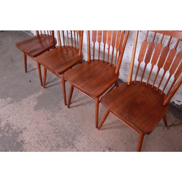 Kipp Stewart for Drexel Declaration Solid Walnut Dining Chairs, Set of 6 For Sale - Image 11 of 13