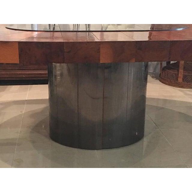 Paul Evans Paul Evans Burlwood Dining Table Brushed Metal For Sale - Image 4 of 12