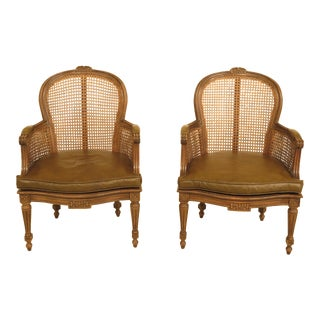1990s Vintage French Louis Cane Back Vintage Arm Chairs- A Pair For Sale