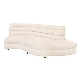 Modern Ivory Wool Upholstered Channel Back Sofa For Sale