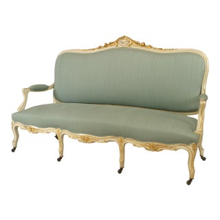 French Louis XV Green Upholstered Settee For Sale