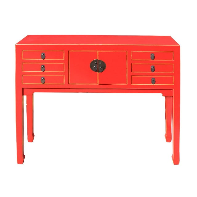 Foyer Table Distressed : Chinese distressed red narrow foyer table chairish