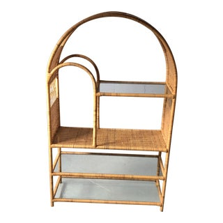 1970's Curved Top Rattan Wicker Etagere For Sale