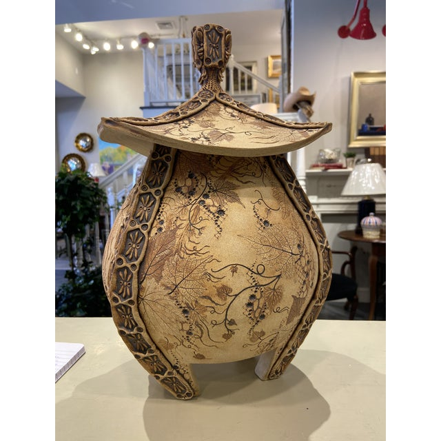 Contemporary Handmade Signed Urn With Lid For Sale - Image 9 of 9