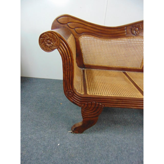 Mid 20th Century Anglo Indian Carved Mahogany & Cane Sofa For Sale - Image 5 of 7