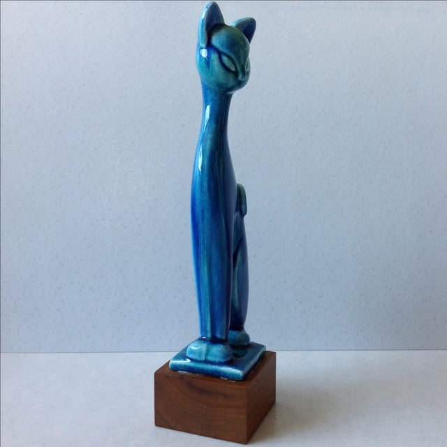 Royal Haeger Mid Century Modern Blue Cat - Image 4 of 11