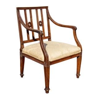 Italian Neoclassic Walnut Armchair For Sale