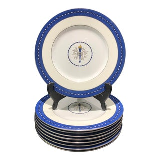 "Mid 19th Century Minton ""Torch and Ribbon"" Blue Presentation Dinner Plates - Set of 10 For Sale"