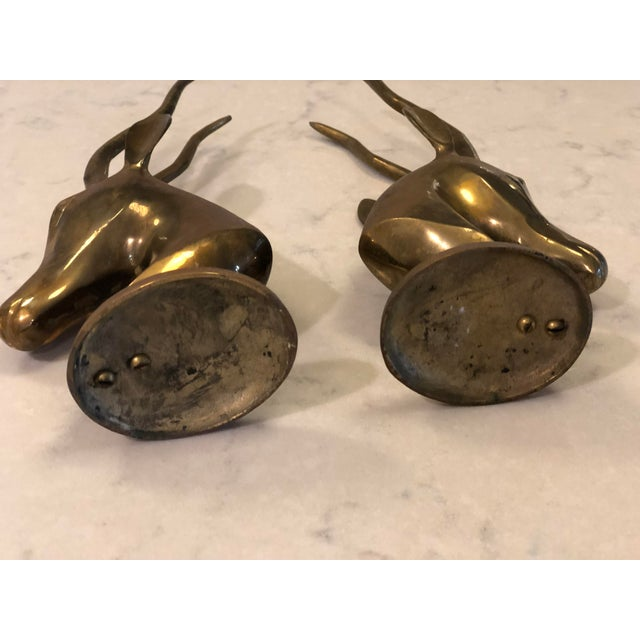Vintage Brass Gazelle Figurines/Bookends - a Pair For Sale - Image 4 of 8