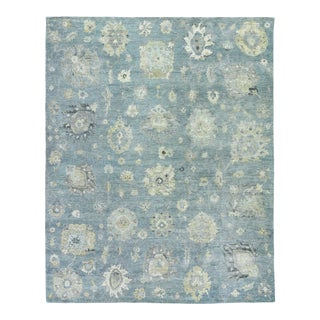 Exquisite Rugs Evie Hand Knotted Wool Light Blue & Multi - 6'x9' For Sale