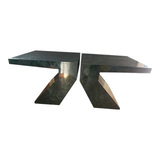 Postmodern Sculptural Faux Marble Side Tables - a Pair For Sale