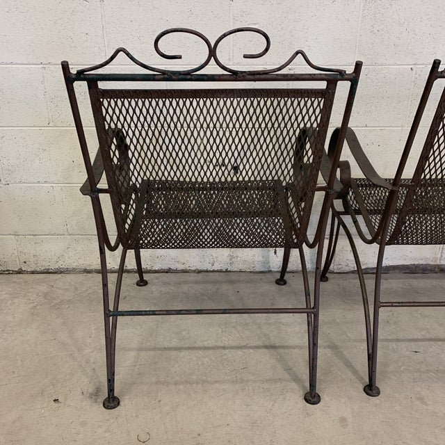 1960s Vintage Iron Patio Chairs - a Pair For Sale - Image 5 of 11