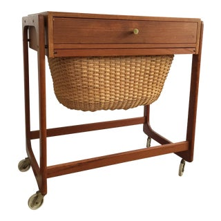 Mid Century Teak Basket Side Table on Casters