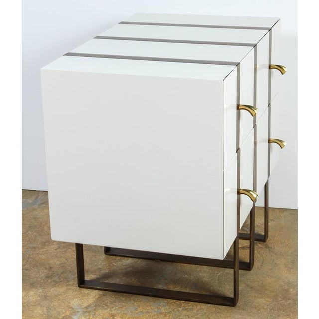 Paul Marra Two-Drawer Banded Chest in Lacquered Finish and Inset Iron Band - Image 7 of 8