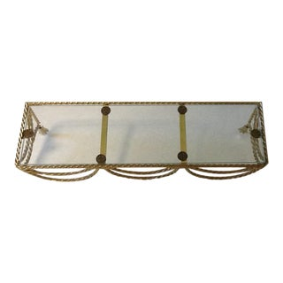 Vintage Gold Rope & Glass Top Wall Shelf For Sale