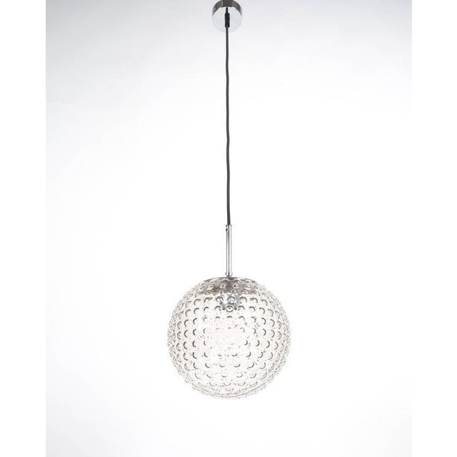 One of Five Bubble Glass Chrome Pendant Lamps by Staff, 1960 For Sale - Image 5 of 6